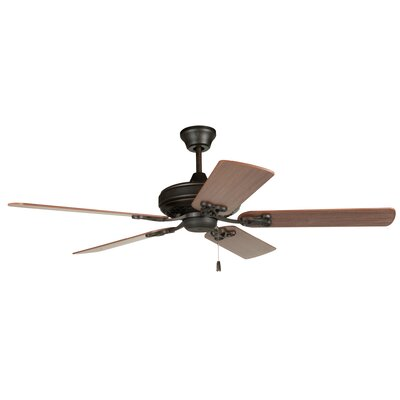 52 Deidra 5-Blade Traditional Ceiling Fan Finish: Aged Bronze with Dark Oak/Mahogany Blades