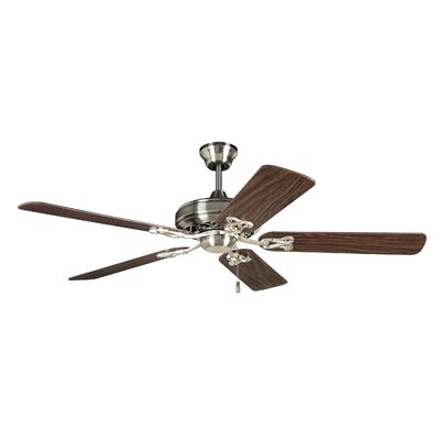 52 Deidra 5-Blade Traditional Ceiling Fan Finish: Brushed Polished Nickel with Teak/Cherry Blades