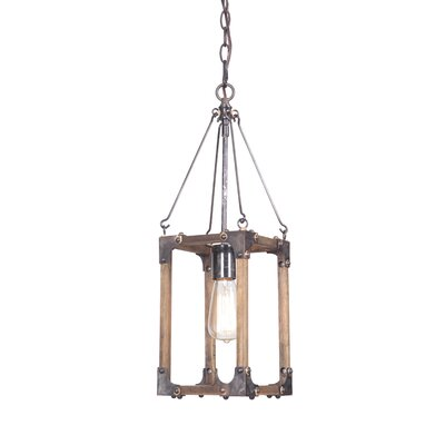 Larenzo 1-Light Foyer Pendant Finish: Fired Steel / Natural Wood