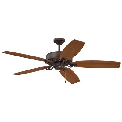 64 Patterson 5-Blade Ceiling Fan Finish: Aged Bronze Highlight with Walnut/Teak Blades