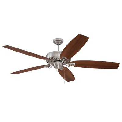 64 Pittman 5-Blade Ceiling Fan Finish: Brushed Polished Nickel with Walnut/Maple Blades