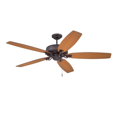 64 Patterson 5-Blade Ceiling Fan Finish: Oiled Bronze Gilded with Walnut/Teak Blades