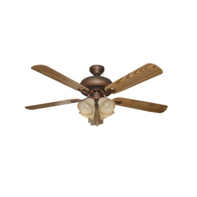 52 Piedmont 5-Blade Ceiling Fan Finish: Aged Bronze with Mahogany/Dark Oak Blades
