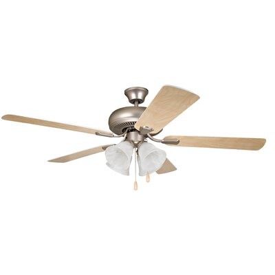 52 Jeffcoat 5-Blade Ceiling Fan Finish: Brushed Pewter with Ash/White Blades