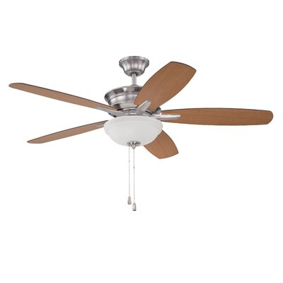 52 Elizabethville 5-Blade Ceiling Fan Finish: Brushed Polished Nickel with Walnut/Teak Blades