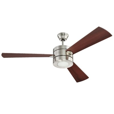 54 Enyeart 3-Blade Ceiling Fan Finish: Brushed Polished Nickel with Dark Walnut Blades