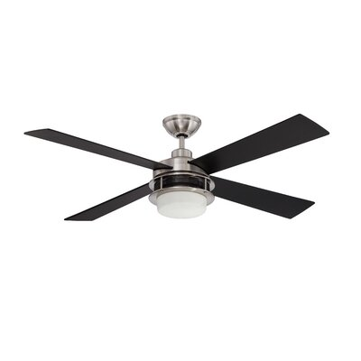 48 Urban Breeze 4-Blade Ceiling Fan Finish: Brushed Polished Nickel with Black Walnut Blades