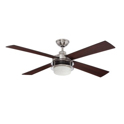 52 Javonte 4-Blade Ceiling Fan with Wall Remote Finish: Brushed Polished Nickel with Black/Walnut Blades