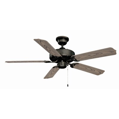52 All-Weather 5-Blade Ceiling Fan with Light Kit Finish: Aged Bronze with Weathered Oak ABS Blades