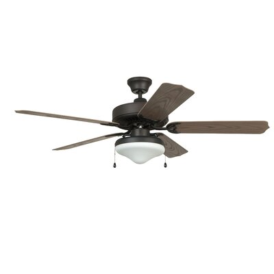 52 Southerland 5-Blade Ceiling Fan with Light Kit Finish: Aged Bronze with Weathered Oak ABS Blades