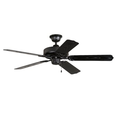 52 All-Weather 5-Blade Ceiling Fan Finish: Matte Black with Matte Black ABS Blades