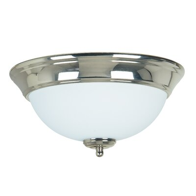 2-Light Flush Mount Finish: Polished Nickel, Shade Color: Frosted White, Size: 5.5 H x 11 W