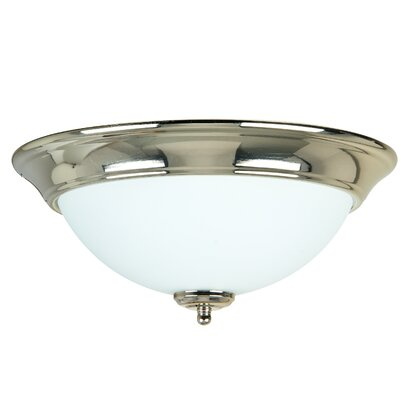 2-Light Flush Mount Finish: Polished Nickel, Shade Color: Frosted White, Size: 6 H x 13 W