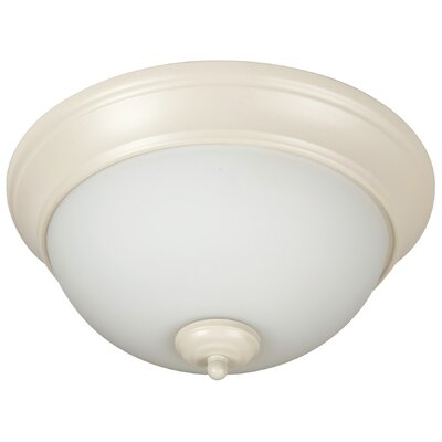 Pro Builder 2-Light Flush Mount Finish: Antique White, Shade Color: White