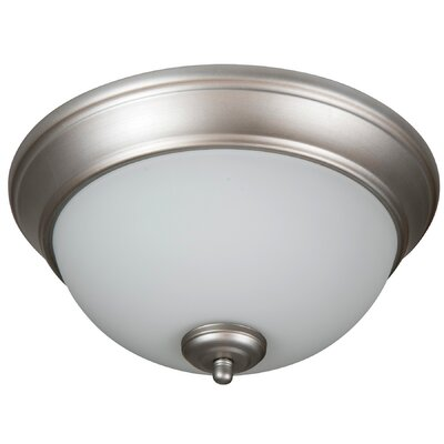 Byron 2-Light Bowl Flush Mount Shade Color: White, Finish: Brushed Satin Nickel