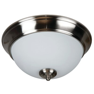 Byron 2-Light Bowl Flush Mount Finish: Brushed Polished Nickel, Shade Color: White