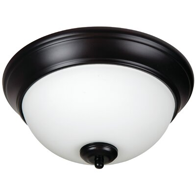 Pro Builder 2-Light Flush Mount Shade Color: White, Finish: Oiled Bronze