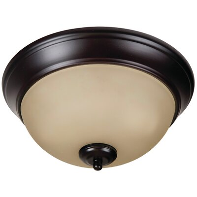 Byron 2-Light Bowl Flush Mount Finish: Brushed Aged Bronze, Shade Color: Amber