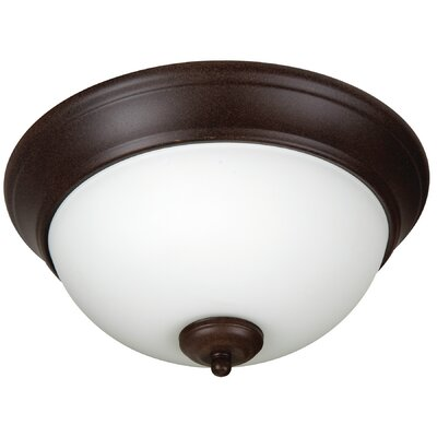 Pro Builder 2-Light Flush Mount Shade Color: White, Finish: Textured Aged Bronze
