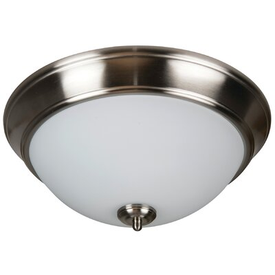 Byron 2-Light Flush Mount Finish: Brushed Polished Nickel, Shade Color: White