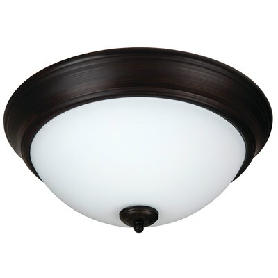 Byron 2-Light Flush Mount Shade Color: White, Finish: Brushed Aged Bronze