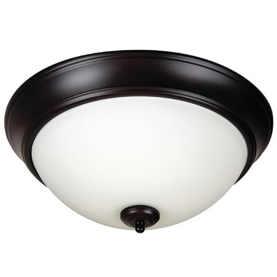 Byron 2-Light Flush Mount Finish: Oiled Bronze, Shade Color: White
