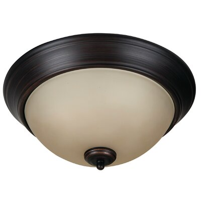 Byron 2-Light Flush Mount Shade Color: Amber, Finish: Brushed Aged Bronze