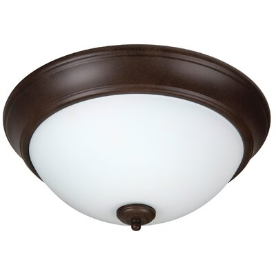 Byron 2-Light Flush Mount Shade Color: White, Finish: Textured Aged Bronze