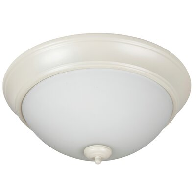 Pro Builder 2-Light Flush Mount Shade Color: White, Finish: Antique White