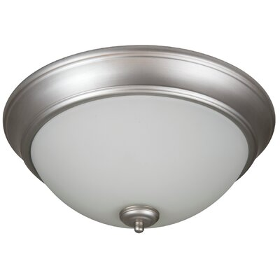 Pro Builder 2-Light Flush Mount Shade Color: White, Finish: Brushed Satin Nickel