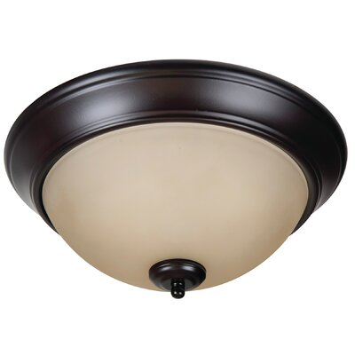 Byron 2-Light Flush Mount Finish: Oiled Bronze, Shade Color: Amber