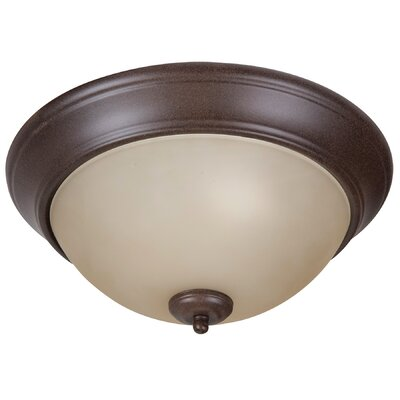 Byron 2-Light Flush Mount Shade Color: Amber, Finish: Textured Aged Bronze