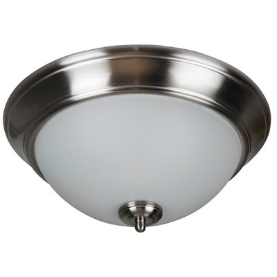Byron 3-Light Flush Mount Shade Color: White, Finish: Brushed Polished Nickel