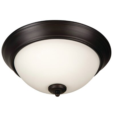 Byron 3-Light Flush Mount Shade Color: White, Finish: Brushed Aged Bronze