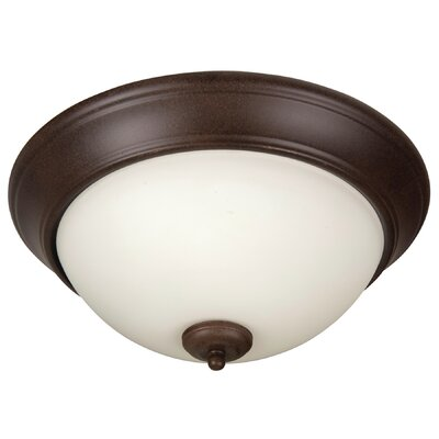 Byron 3-Light Flush Mount Shade Color: White, Finish: Textured Aged Bronze