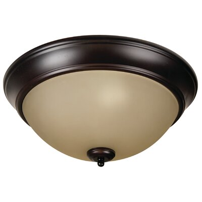 Byron 3-Light Flush Mount Finish: Oiled Bronze, Shade Color: Amber