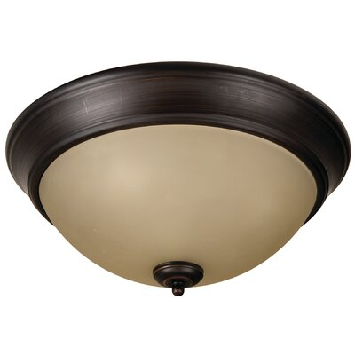 Byron 3-Light Flush Mount Finish: Brushed Aged Bronze, Shade Color: Amber