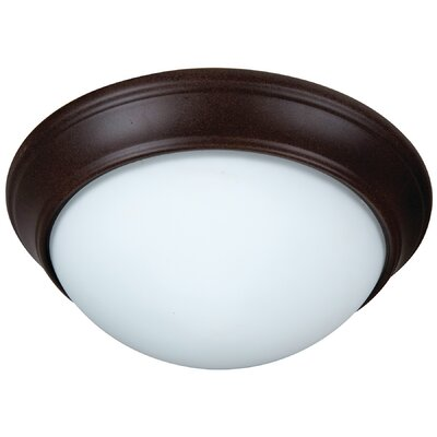 Berwyn 2-Light Bowl Flush Mount Finish: Textured Aged Bronze, Shade Color: White