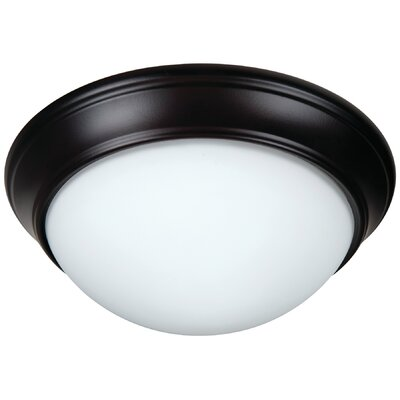 Berwyn 2-Light Bowl Flush Mount Shade Color: White, Finish: Oiled Bronze
