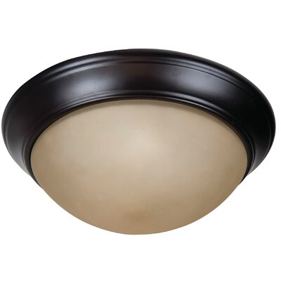 Berwyn 2-Light Flush Mount Shade Color: Amber, Finish: Oiled Bronze