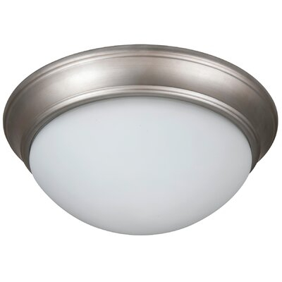 Berwyn 2-Light Flush Mount Shade Color: White, Finish: Brushed Satin Nickel