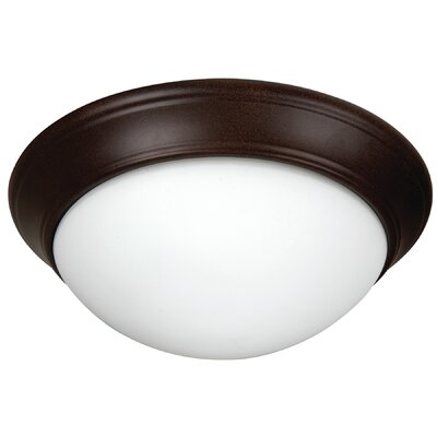 Berwyn 3-Light Flush Mount Finish: Textured Aged Bronze, Shade Color: White