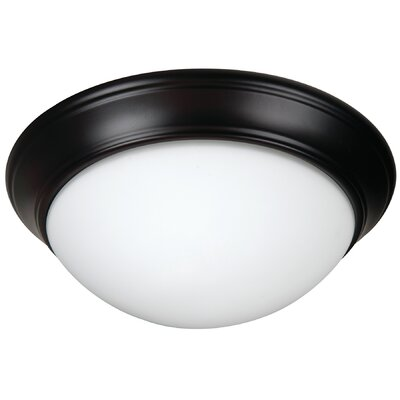 Berwyn 3-Light Flush Mount Shade Color: White, Finish: Oiled Bronze