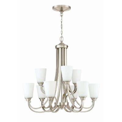 Colfax 9-Light Shaded Chandelier Finish: Brushed Polished Nickel