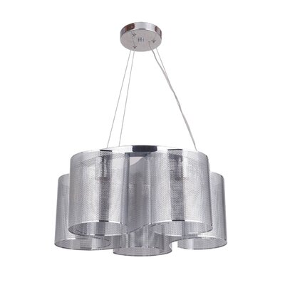 Paulette 5-Light Shaded Chandelier Finish: Chrome