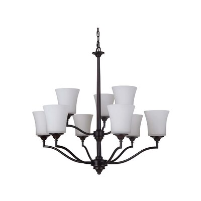 Helena 9 Shaded Chandelier Finish: Oiled Bronze