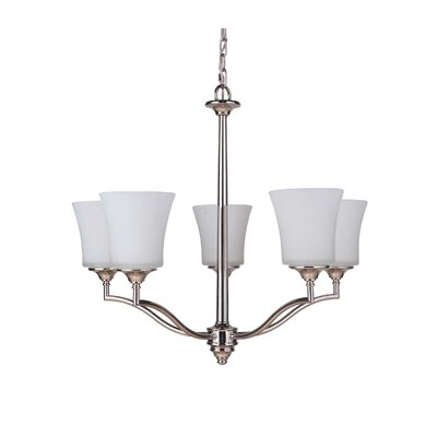 Helena 5-Light Shaded Chandelier Finish: Polished Nickel