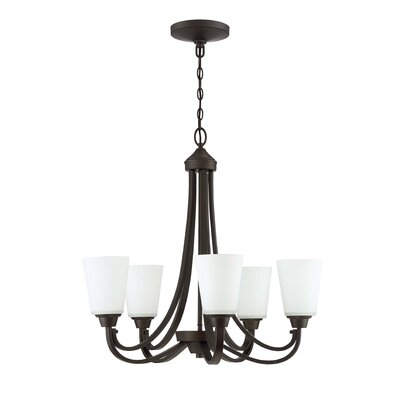 Colfax 5-Light Glass Shaded Chandelier Finish: Espresso