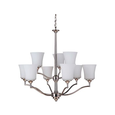 Farnborough 9 Shaded Chandelier Finish: Polished Nickel