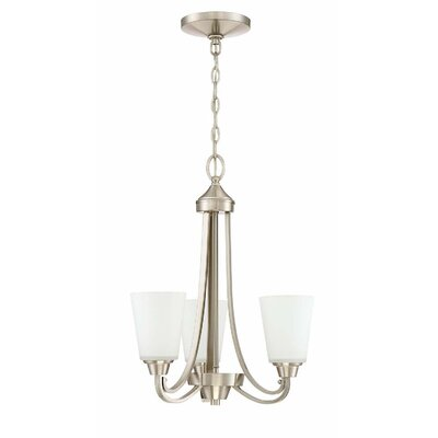 Colfax Dome Shade 3-Light Mini Chandelier Finish: Brushed Polished Nickel